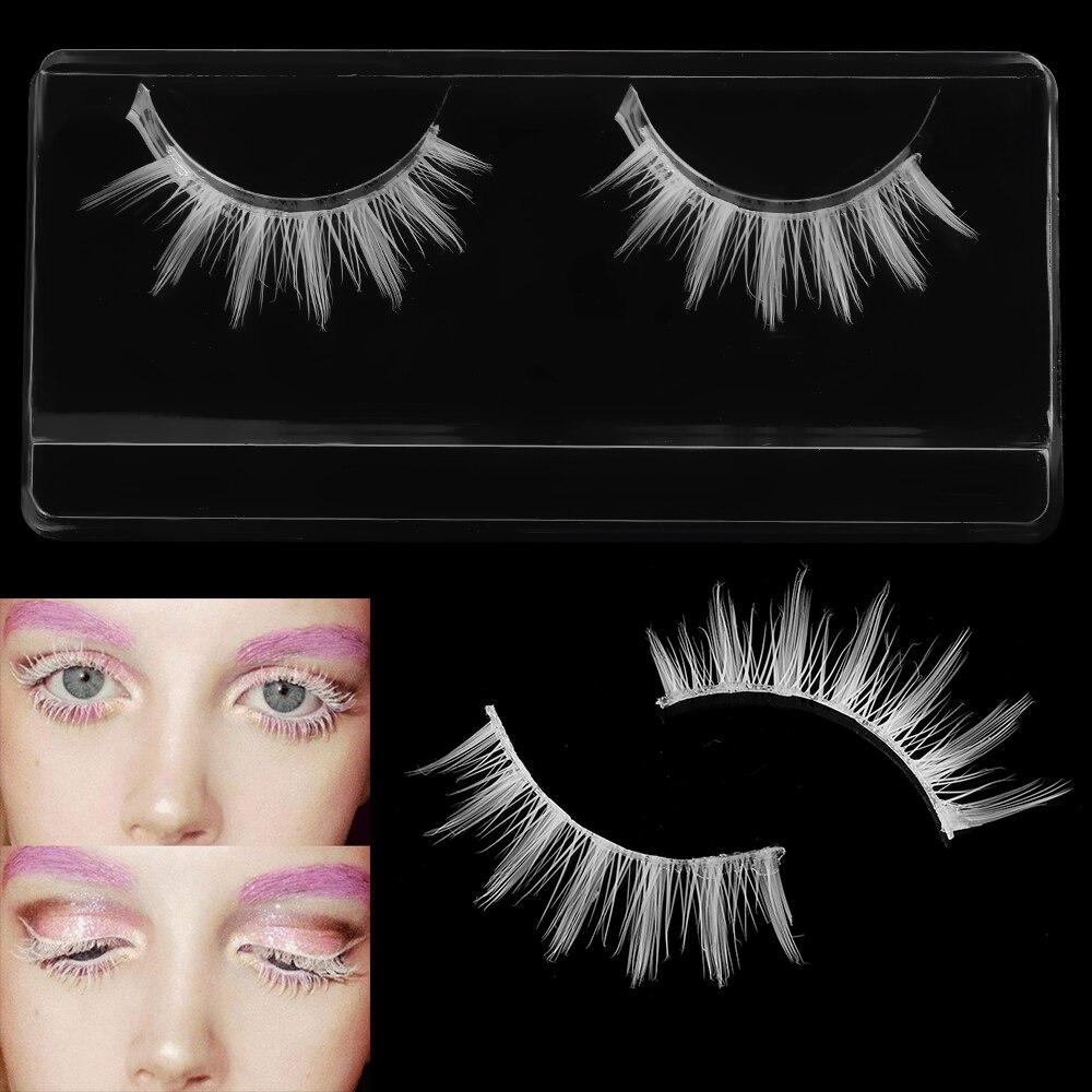 1 Pair White False Eyelashes Natural Eyelash Extension Handmade Cross Long Soft Fake Eyelashes Cosplay Eye Lashes Makeup Tools