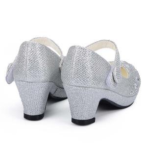 Image 3 - Children Princess Shoes for Girls Sandals High Heel Glitter Shiny Rhinestone Enfants Fille Female Party Dress Shoes