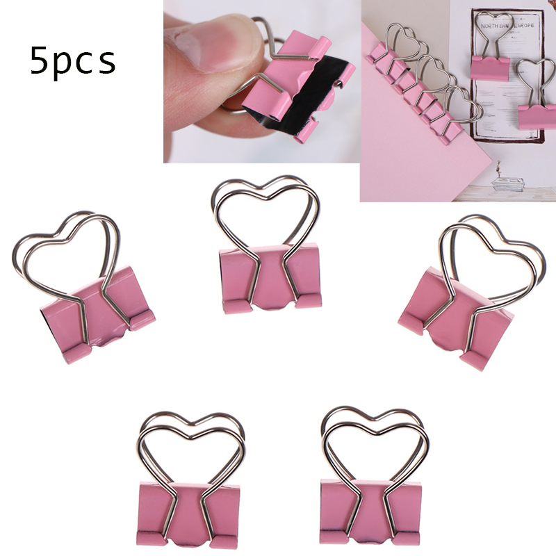 3.5*2.5cm 5Pcs/lot Pink Color Metal Binder Clips Notes Letter Heart Shape Paper Clip  Office Learning Supplies