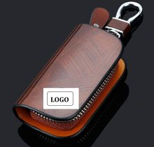 Car Key Case Car Logo Key Bag Pouch Remote Keychain Leather Case Holder Fit For BMW Toyota Honda Mazda Ford Audi Passat(China)