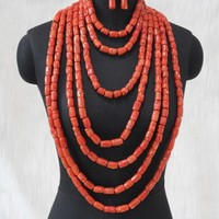 4UJewelry Luxury 7 Layers 100% Genuine Coral Beads Bridal Jewerly Set Big Dubai Necklace Set With Bracelet and Earrings African