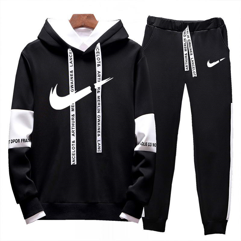 2019 Men Brand New Stitching Men's Hooded Sportswear Shirt Men's Wear  + Sports Jogging Trousers Men's Track Suit Men's Suit