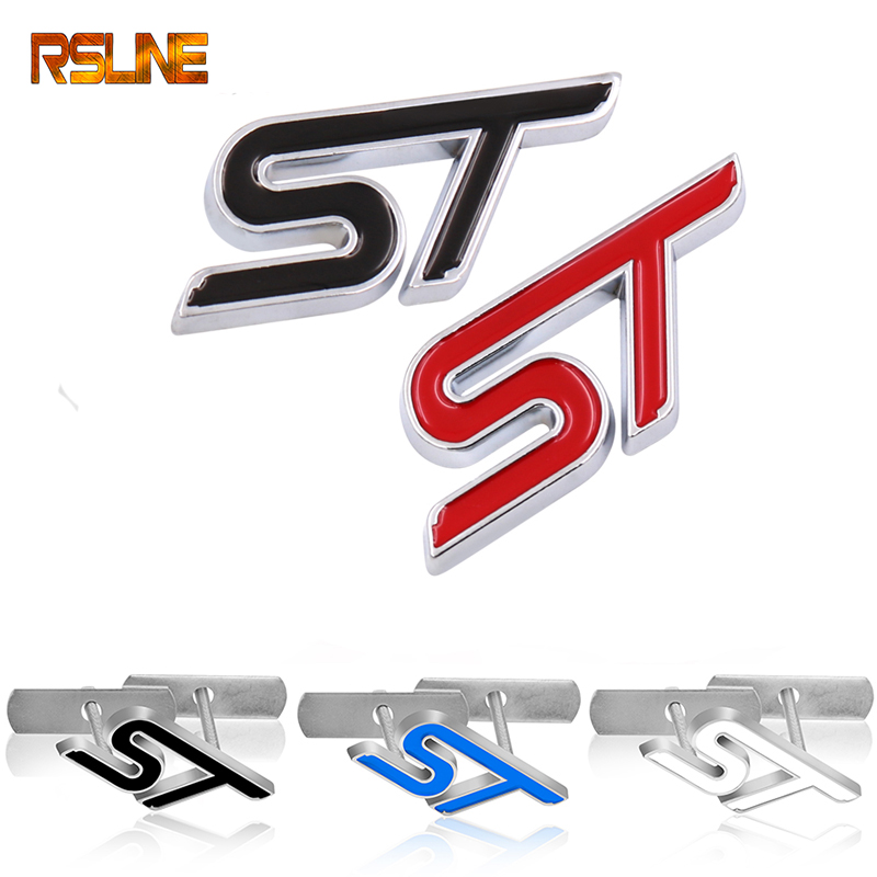 1pc Metal Red Blue ST Front Grille Sticker Car Head Grill Emblem Badge Chrome Sticker For FORD FIESTA FOCUS 2 3 Auto Car Styling