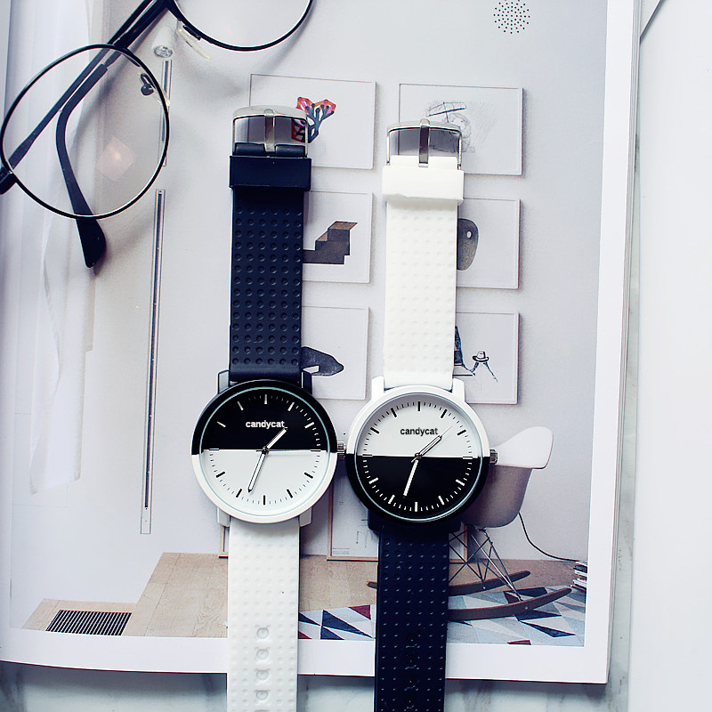 Girls Boys Wristwatch Black White Contrast Color Silicon Strap Simple Casual Student Lovers Quartz Watch