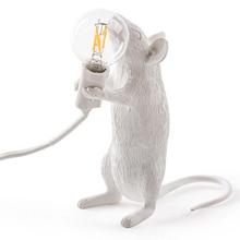 Modern Resinแผ่นตารางโคมไฟLEDหนูโคมไฟตั้งโต๊ะKidsGiftตกแต่งไฟLED EUปลั๊กยืนหนู