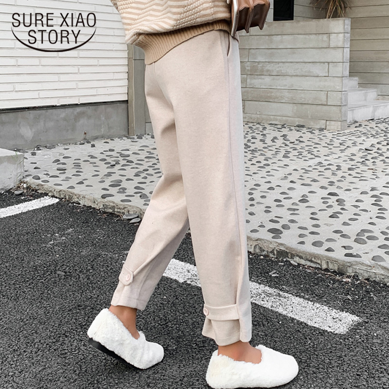 Autumn And Winter 2019 Loose Pants High Waist Broad Legs Straight Ankle-length Plus Size Pants Harem Pants Trousers 6997 50