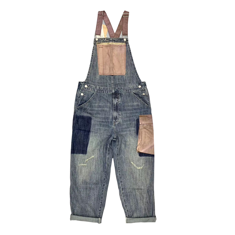 Japanese retro one-piece tooling men's loose overalls with big pockets and color matching suspenders tide