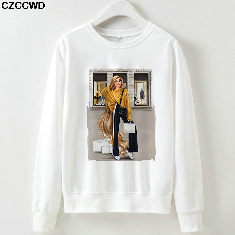 CZCCWD Female Clothes New Hoodies Princess Streetwear Harajuku Sweatshirt Leisure O-neck Long Sleeve Hipster Sudadera Mujer Tops