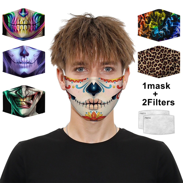 Colorful Pattern Mouth Mask Dustproof Protective PM2.5 Activated carbon Filter Paper Face Mask Washable Reusable Mouth-muffle