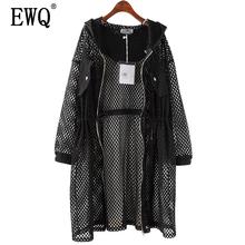 [EWQ] New Spring 2020 Fashion black big size net mesh drawstring waist hooded hollow thin loose windbreaker women QD369 cheap Full Woven Casual Polyester Trench Pockets Solid Long zipper Wide-waisted Summer of 2020 QD36901