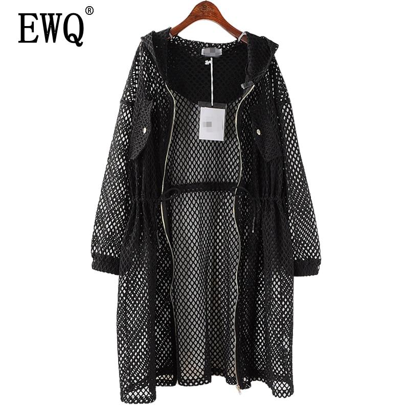 [EWQ] New Spring 2020 Fashion Black Big Size Net Mesh Drawstring Waist Hooded Hollow Thin Loose Windbreaker Women QD369