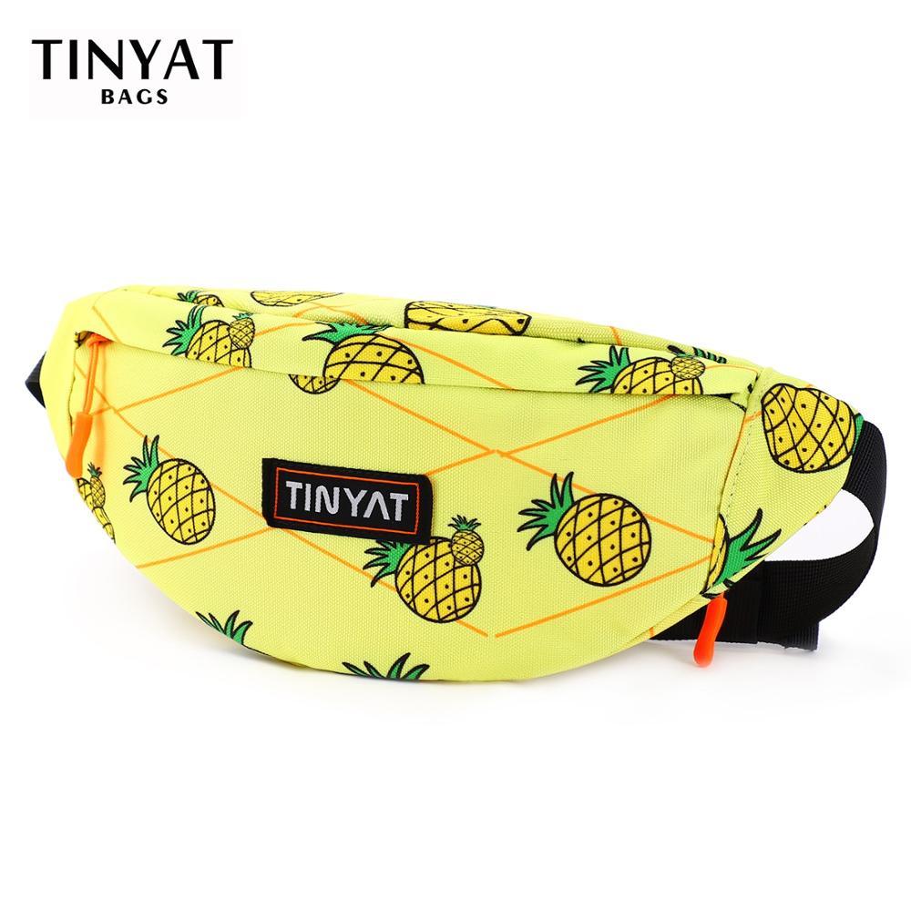 TINYAT Waist Bag Pack Men Women  Print Pineapple Fashion Canvas Belt Bag Casual Belt Pouch Female Travel Banana Bags Men Fanny