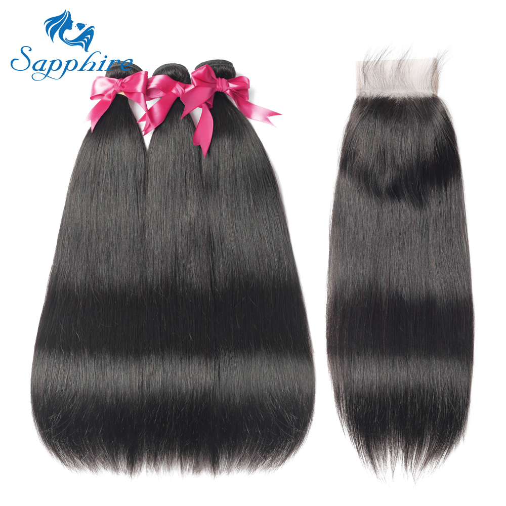 Sapphire Straight Hair Bundles With Closure Peruvian Hair 3pcs NonRemy Hair Extension Human Hair Bundles With Closure