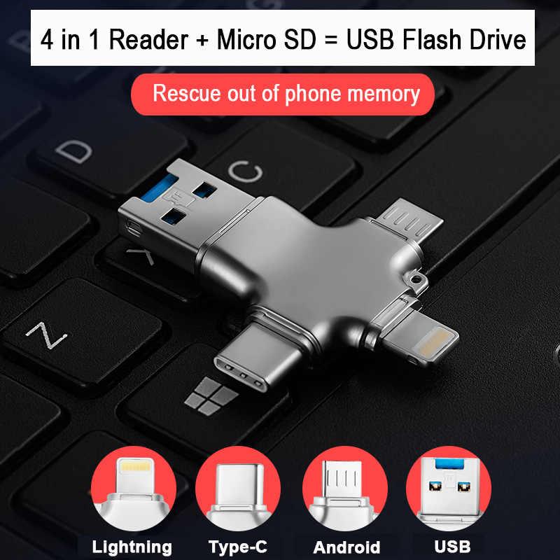 lecteur carte sd 4 en 1 usb 3.0 multi lecteur de carte mémoire intelligente OTG type c adaptateur mini chargeur micro SD/TF microsd pour iphone adaptateur ordinateur portable card reader lecteur de carte sd lecteur