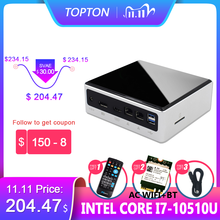 Topton-Mini ordenador de 10. ª generación, Pc Intel i7-10510U, 2 * DDR4 Max, 64GB, M.2 NVMe, NUC, Win 10 Pro, i5-8250U, DP, HDMI, PC, 11,11