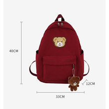 2020 Japanese School Backpack Bear Decorate Nylon Waterproof Backpack School Bags for Teenage Girls Woman Back Pack