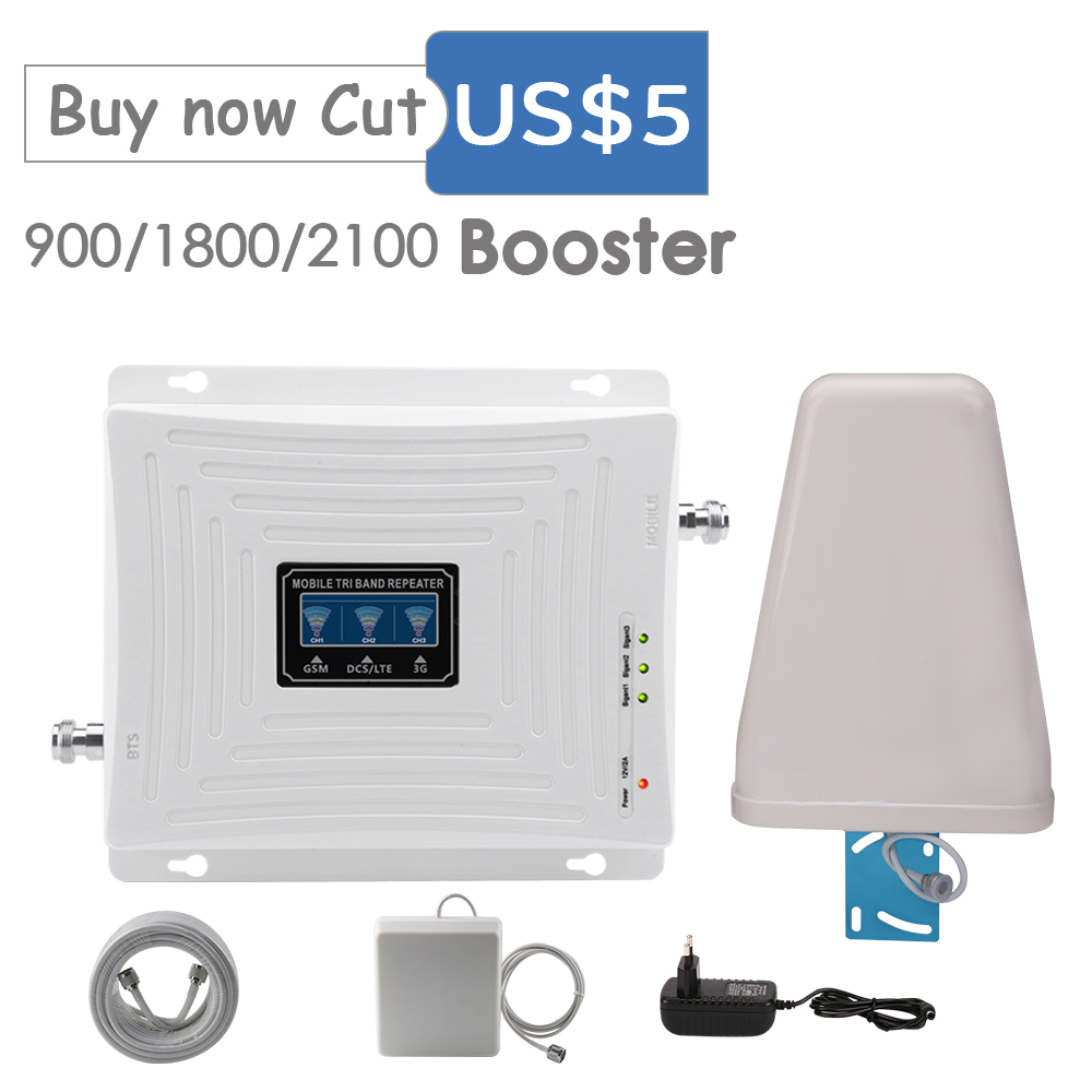 Walokcon 2g 3g 4g Cellular Signal Booster  900 1800 2100 GSM WCDMA UMTS LTE Cellular Repeater 900/1800/2100mhz Amplifier 4G LTE