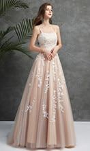 מדהים תחרה ערב שמלות רשמיות נשים אירוע שמלת ספגטי רצועת Applique סקסי פתוח חזרה ארוך נשף שמלות Robe דה Soriee