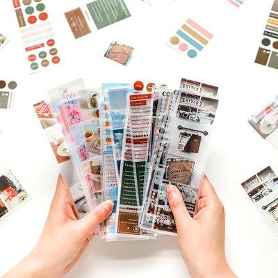 JIANWU 6pcs 50mmX170mm Weekend Tours Series Packing PET Tape Cute Decoration Bullet Journal Sticker School Supplies Kawaii