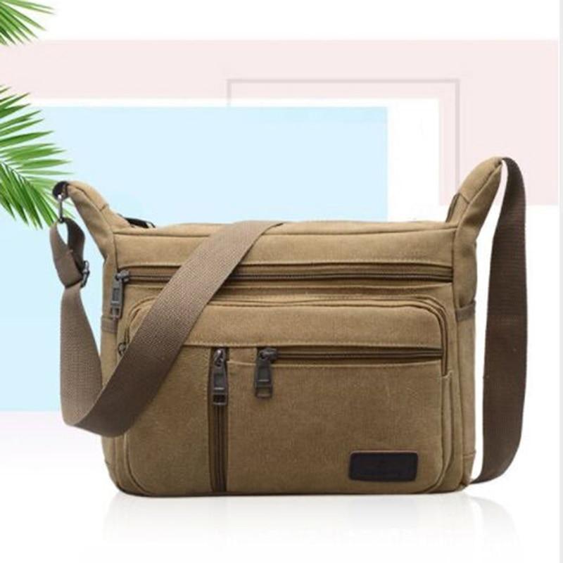 HOT Men Canvas Crossbody Bags Single Shoulder Bags Travel Casual Handbags Messenger Bags Solid Zipper Schoolbags For Teenagers