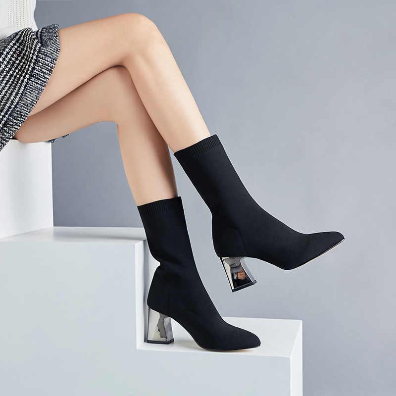 Moda kadın botları sıcak çorap çizmeler kalın topuk çizmeler kadın yarım çizmeler kadın kış ayakkabı kadın patik Bota kadın ayakkabı kış
