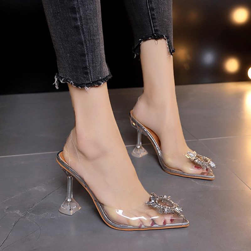 2020 Summer Women Sandals Transparent Crystal Shoes Woman Pointed Toe High Heels Female Slippers Lady Slip On Casual Jelly Shoes