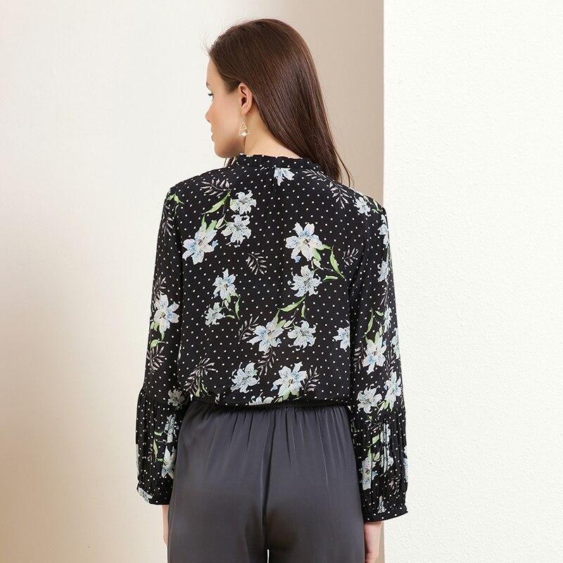 Jinju Golden chrysanthemum spring and summer new flower line leads temperament wave point wild silk blouse