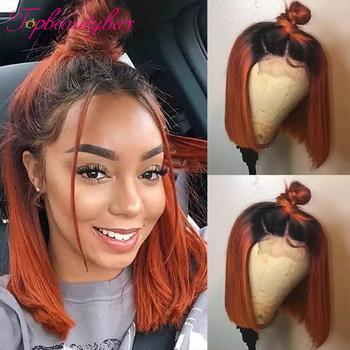 Ombre Ginger krótki Bob peruki przezroczyste koronkowe peruki pomarańczowy kolor Bob peruka koronki przodu peruki z ludzkich włosów brazylijski Remy peruki z ludzkich włosów tanie i dobre opinie Topbeautybar Proste CN (pochodzenie) Remy włosy Ludzki włos Pół maszyny wykonane i pół ręcznie wiązanej Ciemniejszy kolor tylko