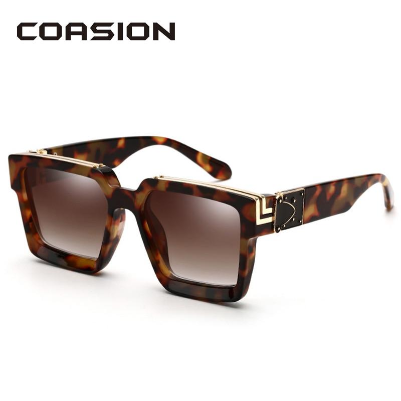 COASION 2020 Luxury Brand Designer Square Sunglasses Men Women Thick Frame Glasses Mens UV400 Male Celebrity CA1399