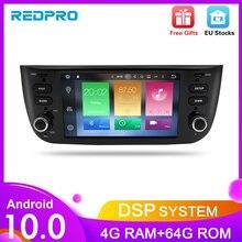 Leitor estereofônico do carro do núcleo android10.0 de octa para fiat grande punto linea 2012 2017 multimídia rádio automático de áudio navegação gps + 4g ram