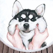 купить HOT Round Beach Towel for Kids Adults Cute Dog Cartoon Printed Tassel Yoga Mat Large Towel Microfiber Blanket 150cm по цене 1357.99 рублей