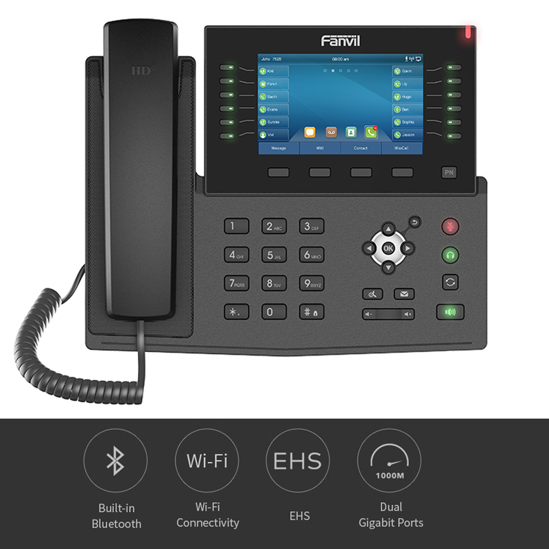 Fanvil X7C IP Phone 5-inch Screen HD Video VoIP Phone Bluetooth WiFi SIP Telephone Support EHS Headset For Business Home Door