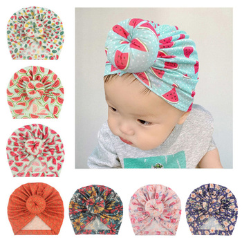 New Donut Baby Beanie Turban Hat Baby Cap Cotton Fruit Print Floral Toddler Baby Girl Cap Infant Accessories 1PC 1pc new spring warm cotton baby hat girl boy toddler infant kids caps candy color cute baby beanies accessories