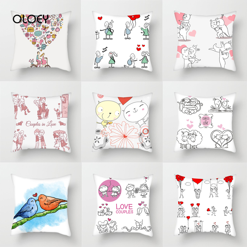 Unique Cartoon Couple Square Polyester Pillowcase Home Bedroom Hotel Car Decoration Pillowcase Soft And Comfortable 45x45cm   ..