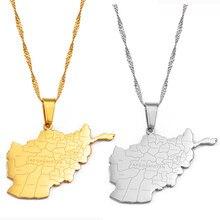 Anniyo afeganistão mapa com cidades nome pingente colares para mulher, cor de ouro mapas afegãos jóias #211921