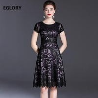Plus Size Clothing 2020 Summer Party Event Women Allover Appliques Embroidery Short Sleeve Slim Fitted A Line Dress 50s 60s 4XL