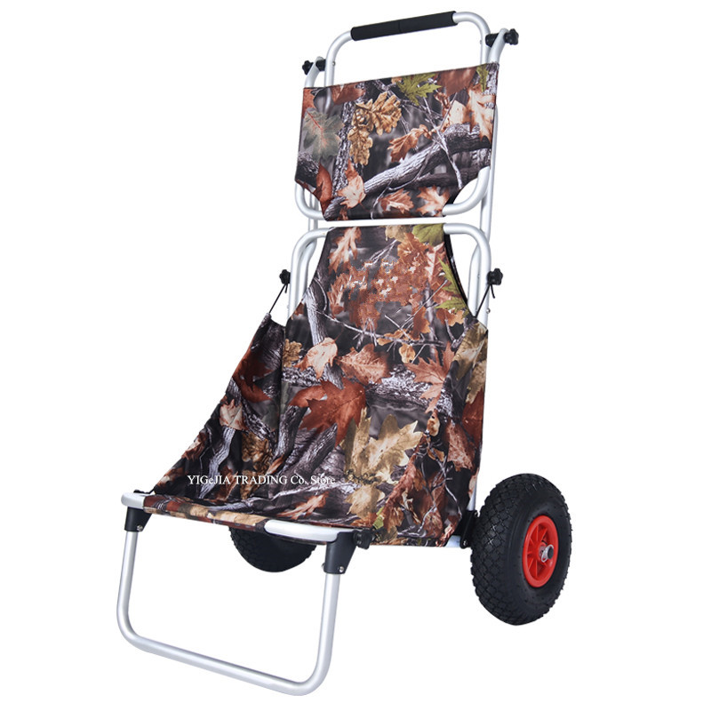 All-in-one Foldable Shopping Cart with Seat, Outdoor Portable Handy Truck, Portable Camping Cart with 25cm Big Rubber Wheel