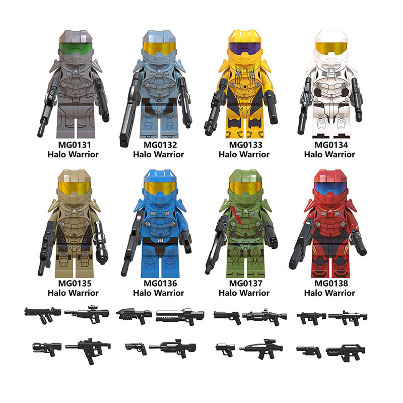 Single Sale LegoINGlys Star Wars Halo Series Warrior Action Figure Spartan Solider Weapon Building Blocks Bricks Diy Toys Gifts