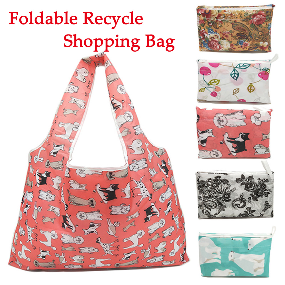 Thick <font><b>Magic</b></font> Style Polyester Large Tote ECO Reusable Polyester Portable Shoulder Handbag Cartoon <font><b>Folding</b></font> <font><b>Shopping</b></font> <font><b>Bag</b></font> image