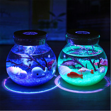 Novelty RGB LED Night Lamp Romantic Sea Fish Stone Ocean Bottle Night Lights For Children Baby Christmas Gift Bedroom Decoration