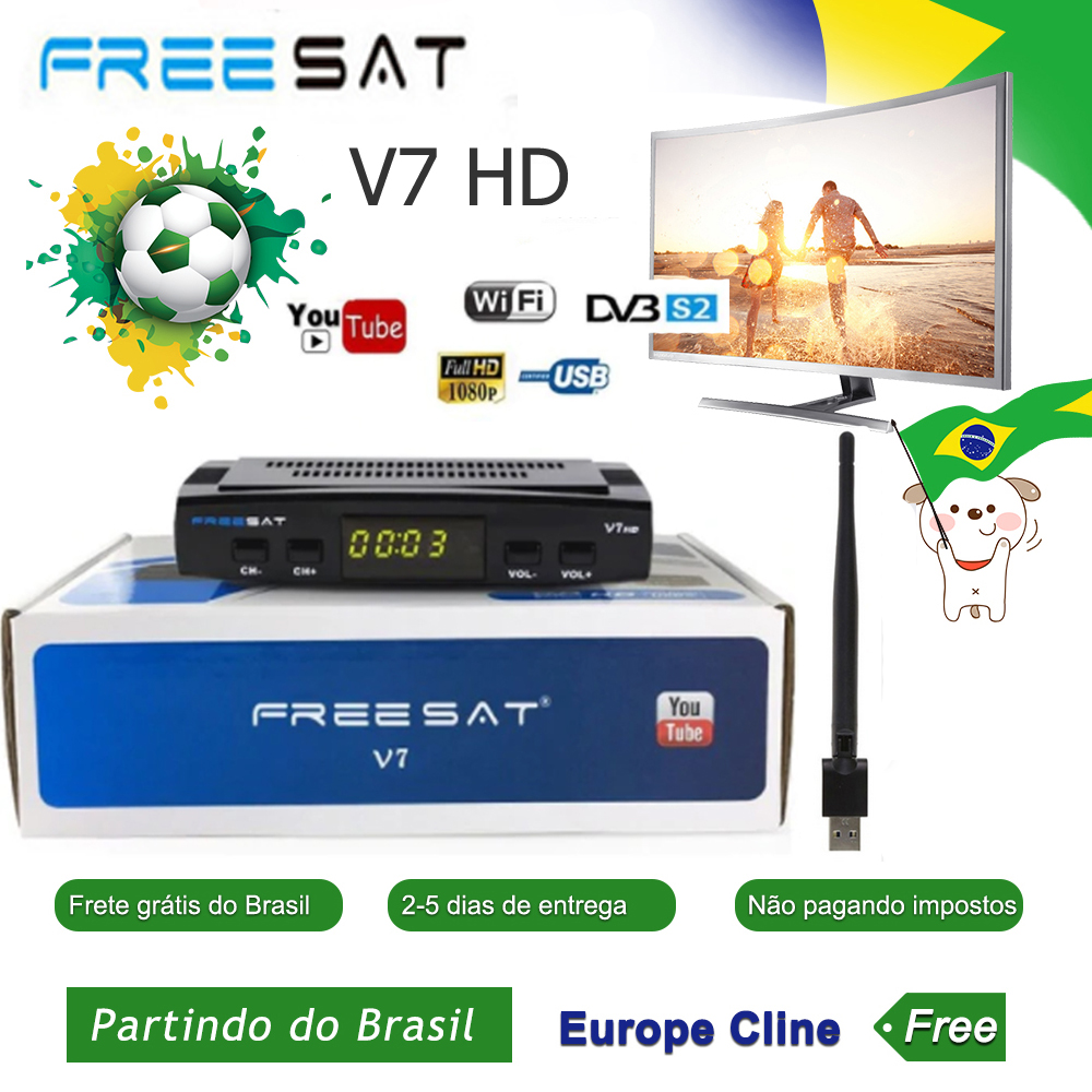 Freesat V7 HD Satellite Receiver with USB WIFI Europe Cccam Cline Italy UK Full HD DVB-S2/S satellite tv decode ship from Brazil(China)