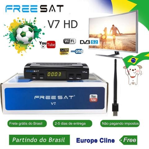 Receptor de Satélite com Usb Navio do Brasil Freesat Wifi Europa Cccam Cline Itália Reino Unido Completo Dvb-s2 – s tv Satélite Decodificar v7 hd