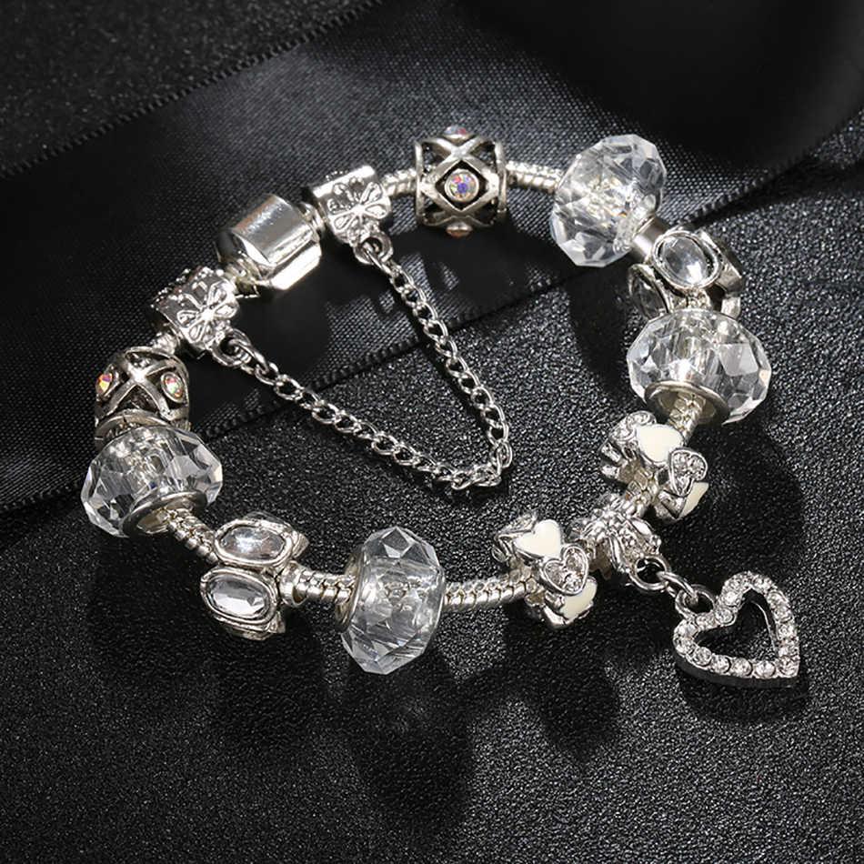 ELESHE 925 moda srebrna bransoletka Charms bransoletka dla kobiet jasnego kryształu serca bransoletki z koralików biżuteria ślubna Pulseras Mujer