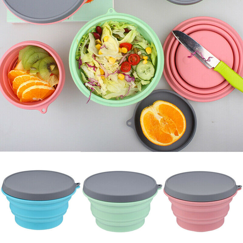 Collapsible Silicone Bowl Lid 500ML Camping Picnic Food Storage Containers 500ML folding silicone bowl image