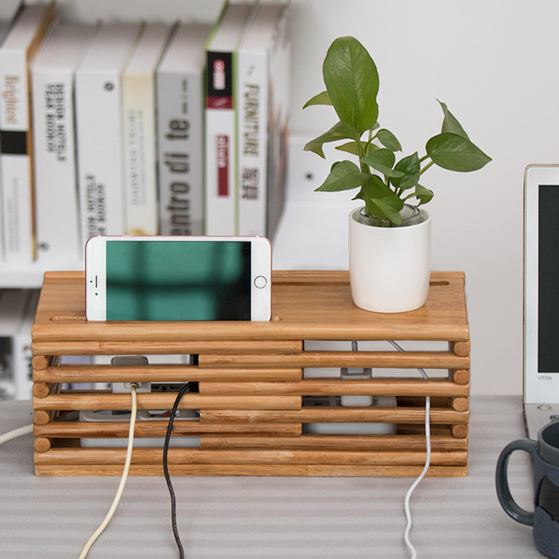Wooden Electric Wire Storage Box Home Power Cord Cable Storages Safety Socket Board Container Power Board Rattan Storage Box