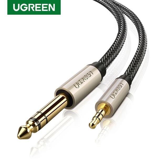 Ugreen 3.5mm için 6.35mm adaptör Aux kablosu mikser amplifikatör CD çalar hoparlör altın kaplama 3.5 Jack 6.5 jack erkek ses kablosu