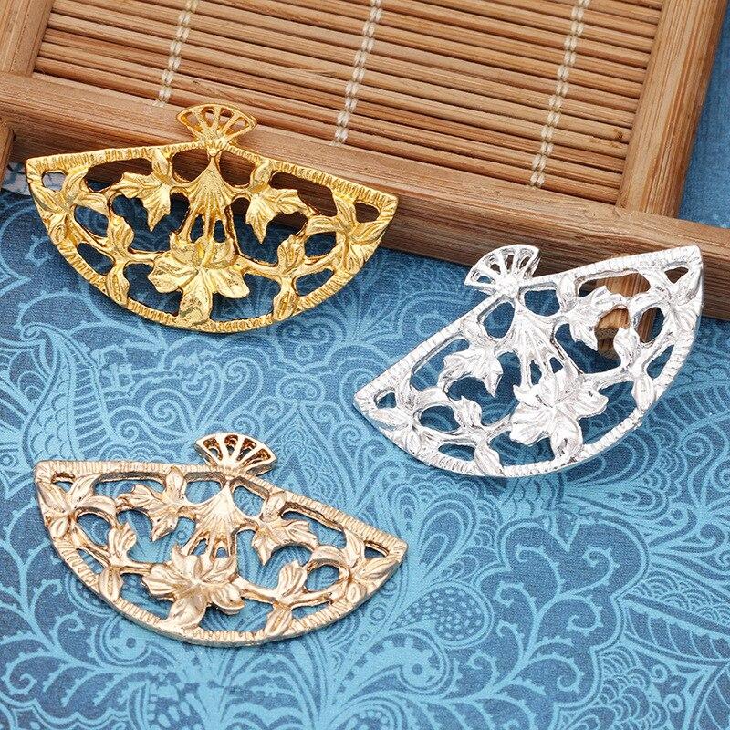 20 peças/lote 23*37mm setor filigrana flor cobre carimbar acessórios para o cabelo diy jóias fazendo