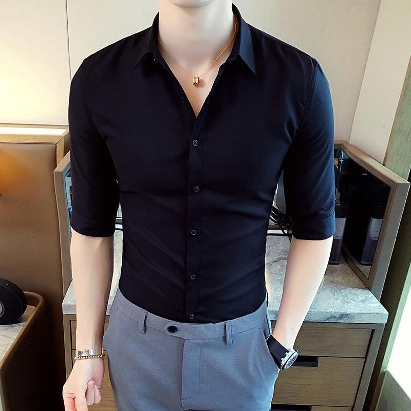 New Short-sleeved Shirt Men's Slim Shirt Half-sleeved Shirt Summer Men's Clothing