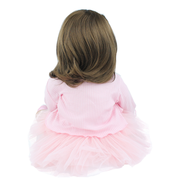 60cm Silicone Reborn Baby Doll Toys For Girl Vinyl Pink Dress Princess Toddler Babies Dress Up