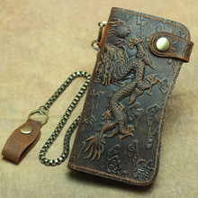 Vintage men's dragon pattern clutch bag leather long anti-theft wallet crazy hor